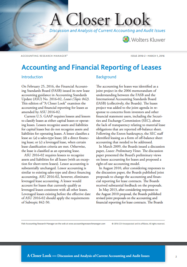 Accounting and Financial Reporting of Leases - Cornwell Jackson